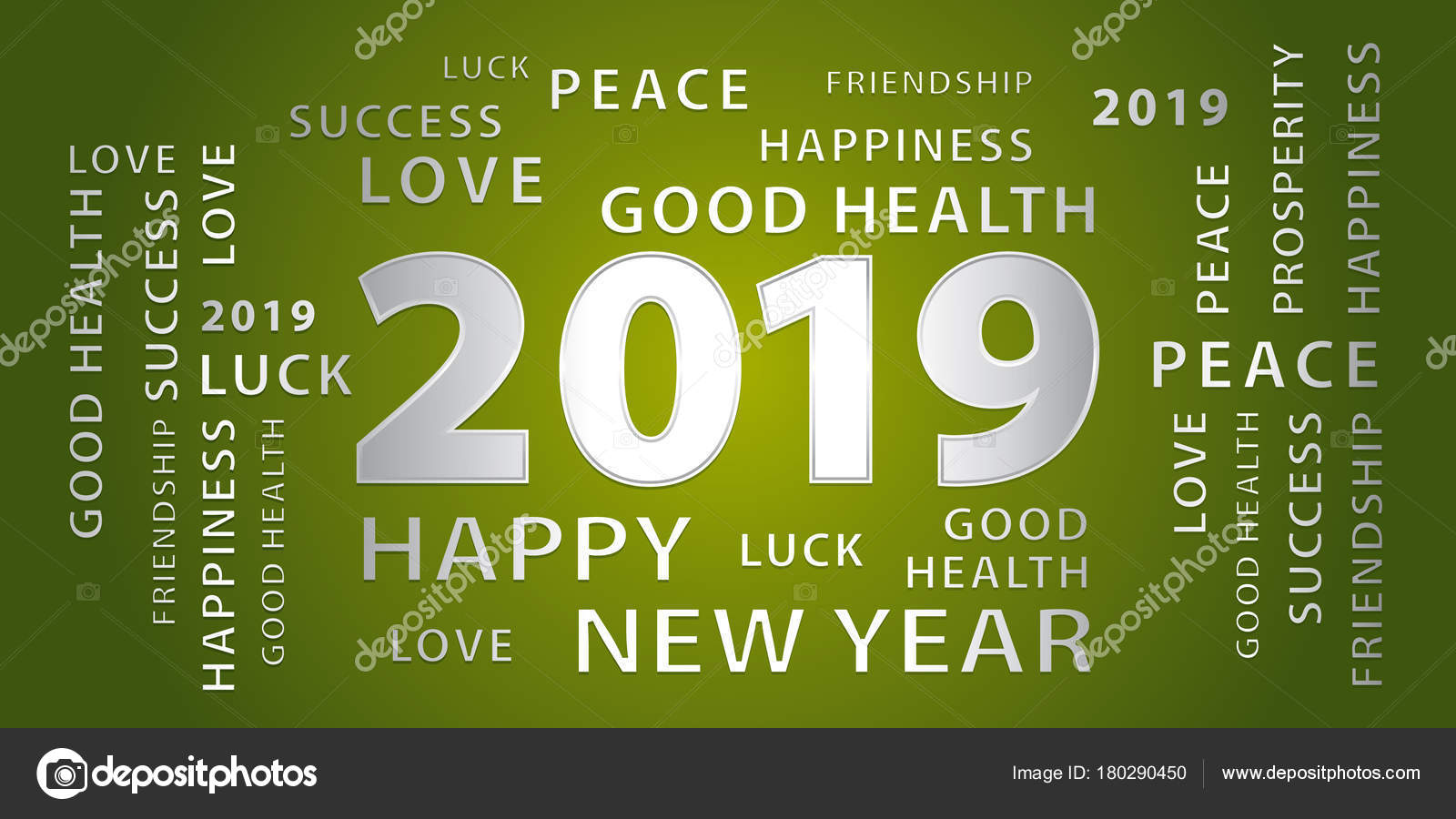 2019 Happy New Year Greetings Vector Banner Green Silver Stock