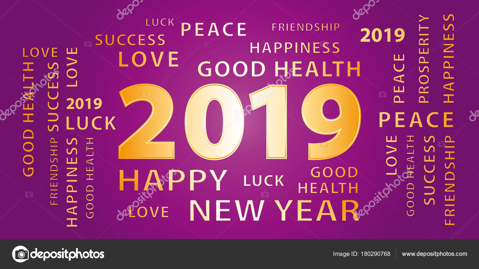 2019 happy new year greetings vector banner purple gold stock vector