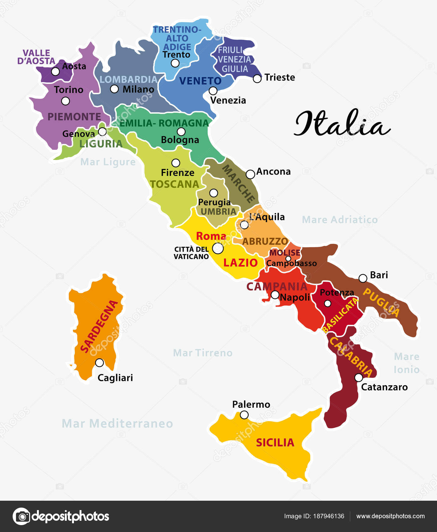 Map Of Italy Regions And Cities.Beautiful Colorful Map Italy Italian Regions Capitals Important