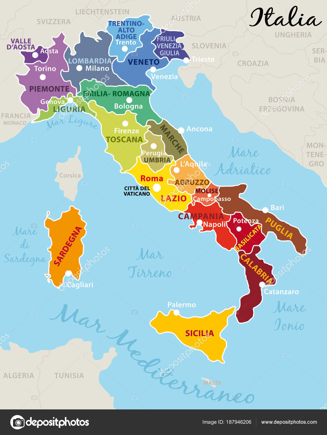 beautiful and colorful map of italy with italian regions capitals and important cities vector illustration ii vector by albachiaraa