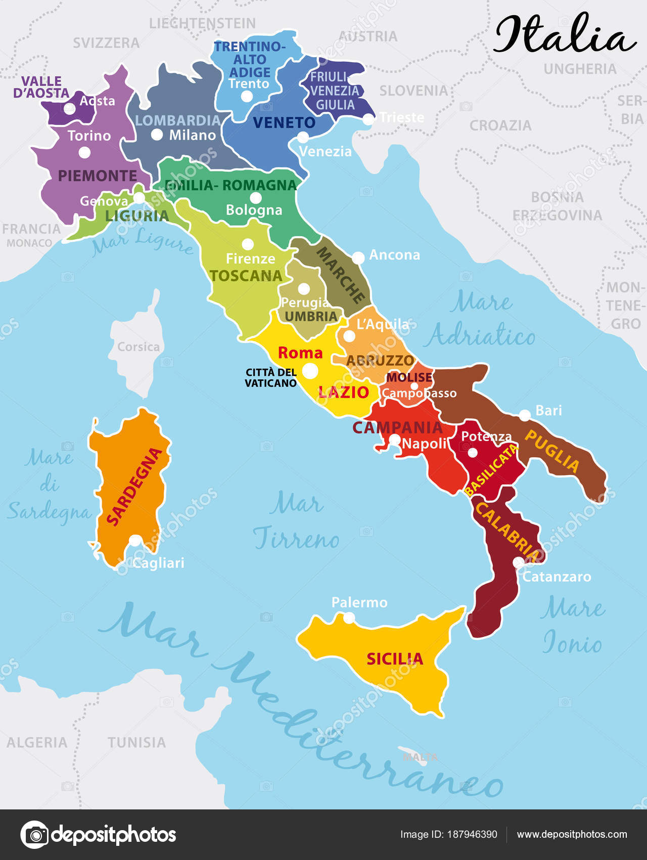 Map Of Italy In Italian.Beautiful Colorful Map Italy Italian Regions Capitals Important