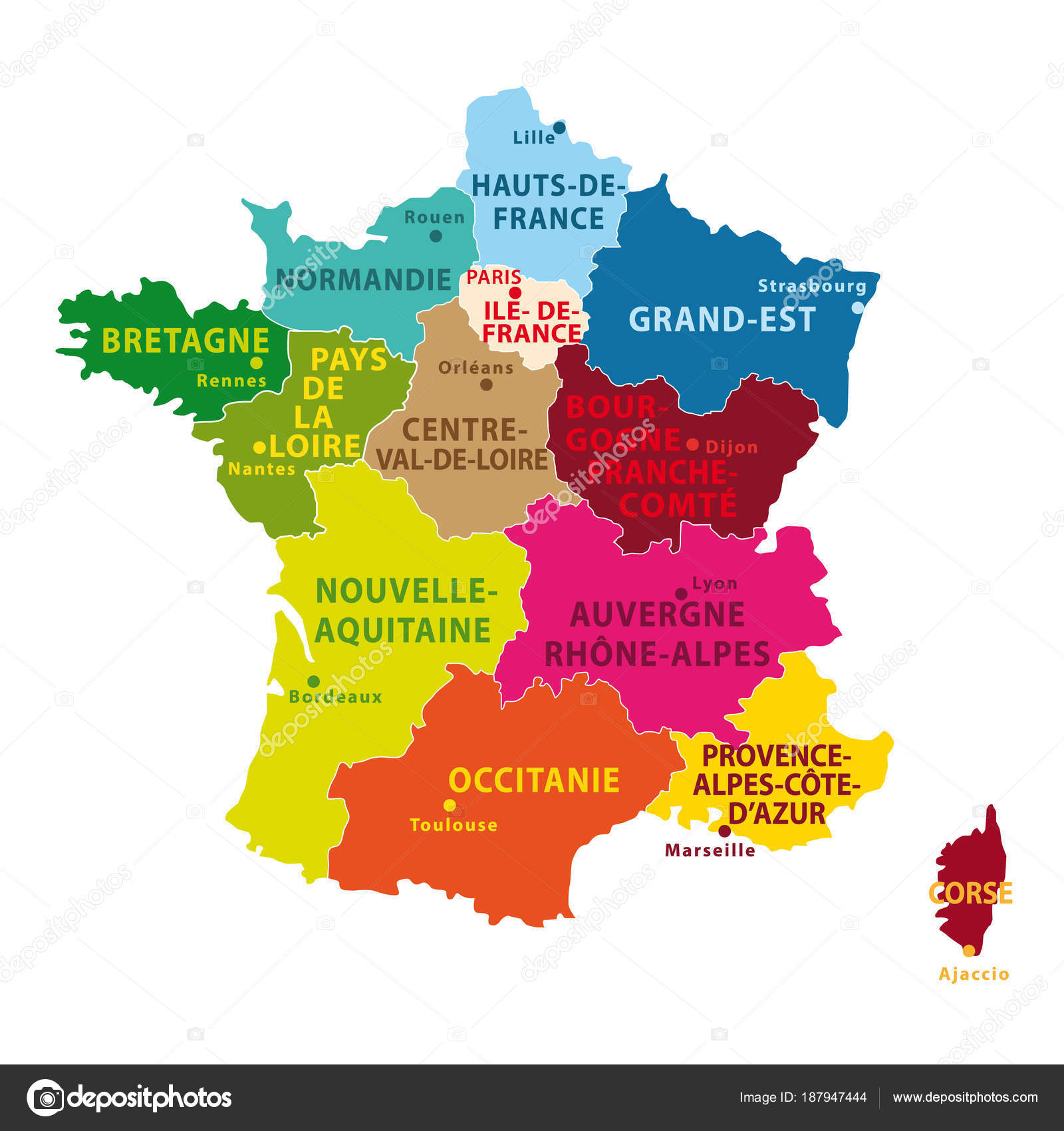 Beautiful Colorful Map France New Regions Capitals Vector