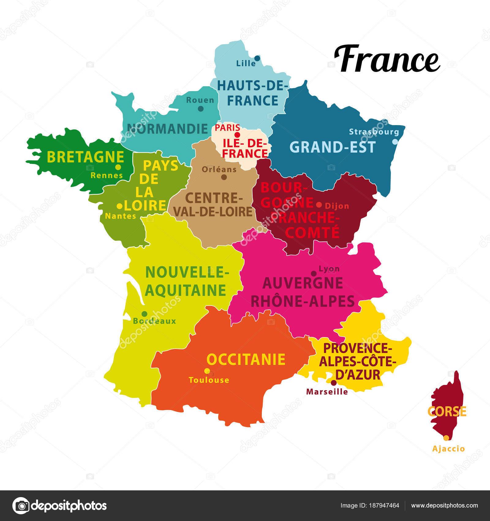 Belle Colorée Carte France Avec Nouvelles Régions Capitales Illustration Vectorielle — Image ...