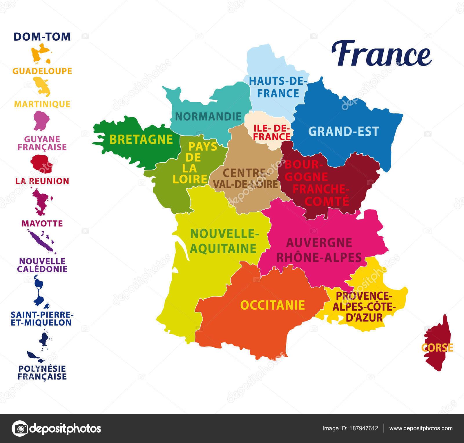 Detailes Bella Colorata Mappa Della Francia Con Isole Francesi Nuove