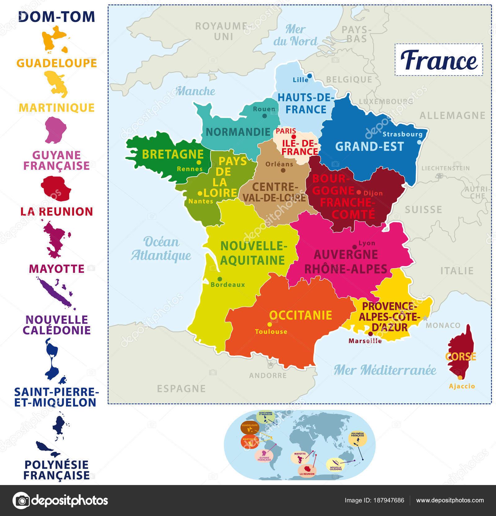 Frankreich Karte Regionen.Schöne Und Bunte Detailes Karte Von Frankreich Mit Französischen