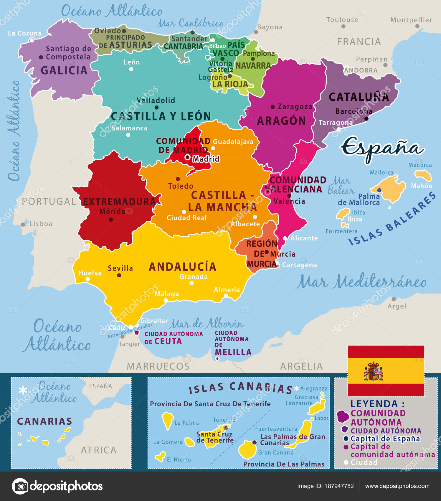Colorful Map Spain Spanish Names Provinces Cities Vector ...