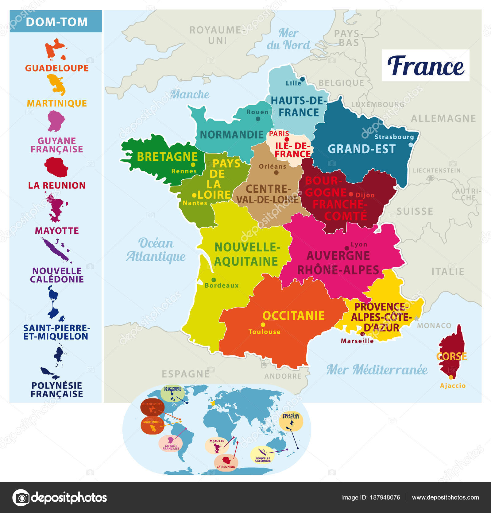 Map Of France 1600.Beautiful Colorful Detailes Map France French Islands New Regions