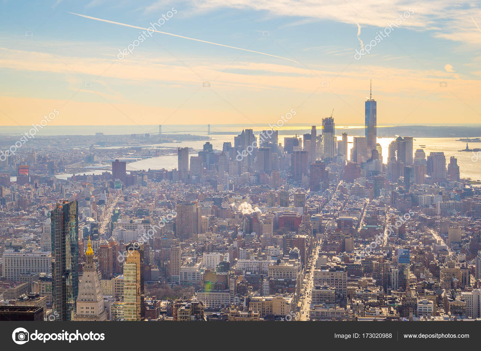 New York December 2016 Aerial Panoramic View City Stock Photo