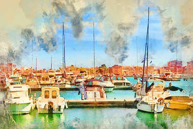 Yachts and boats parked at dock in Marina of Torrevieja. Bay with piers in centre of resort town. Valencia, Spain. Digital watercolor painting