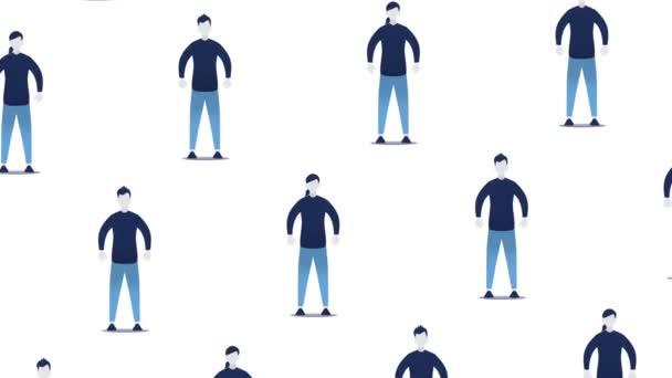 Animační smyčka lidí, kteří zůstávají daleko od sebe kvůli virové infekci. Moderní plochý, texturovaný styl animované ilustrace.