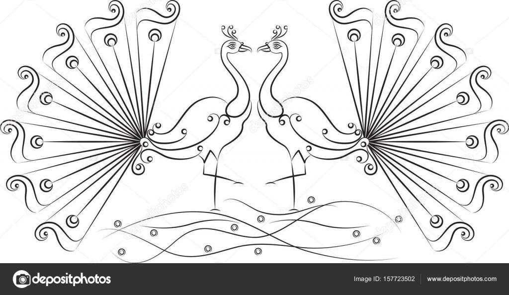 Dibujado a mano artística del pavo real — Archivo Imágenes ...