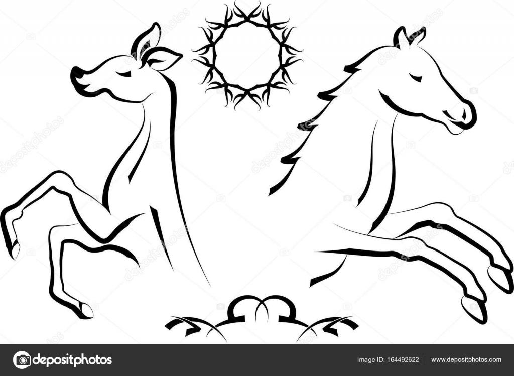 Tatuaż Jelenia I Koń Grafika Wektorowa Ajayshrivastava 164492622