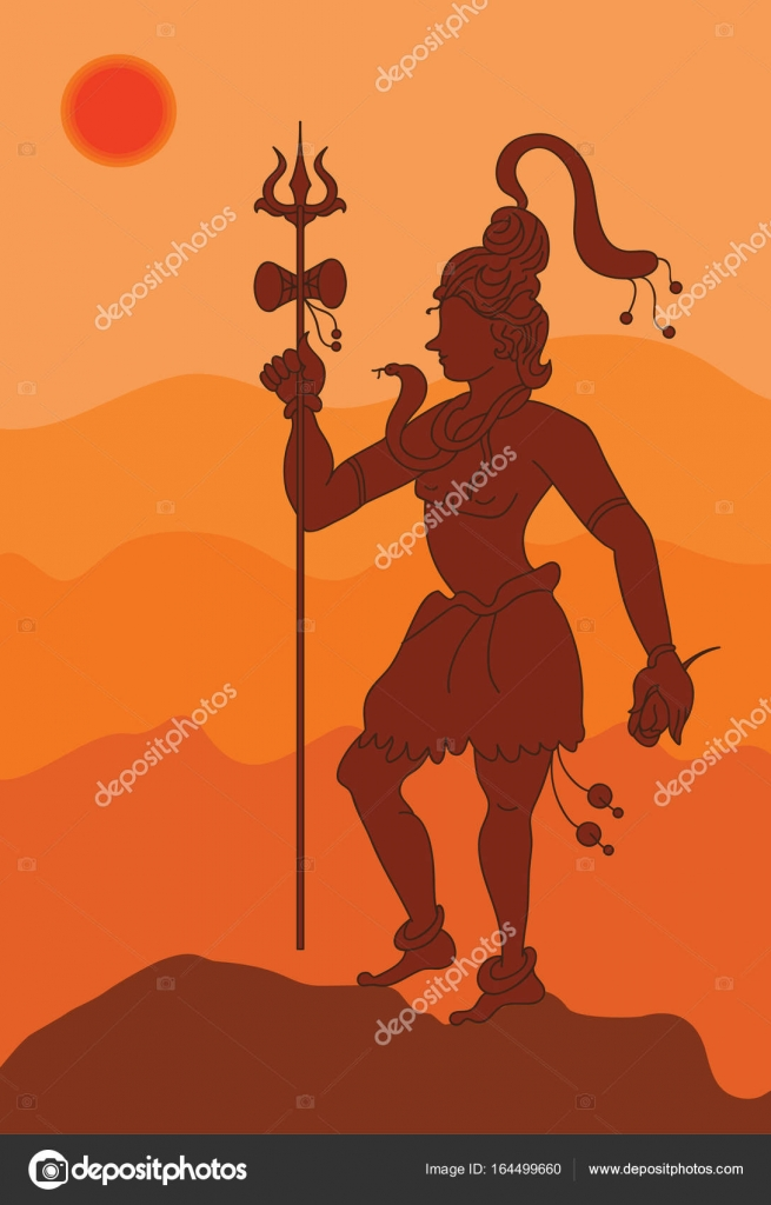 Shadow Art, Shiva The Hindu God — Stock Vector