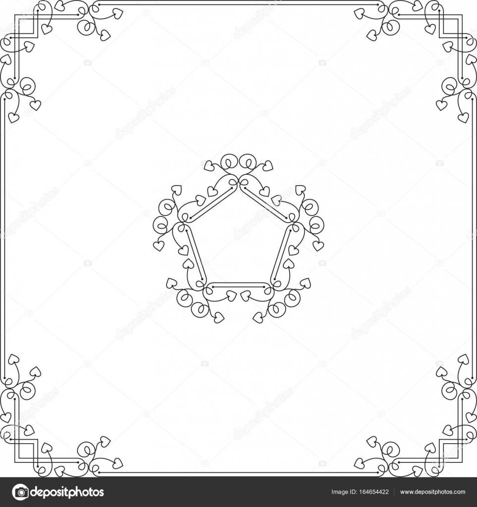 Amor, corazón marco frontera diseño — Vector de stock ...