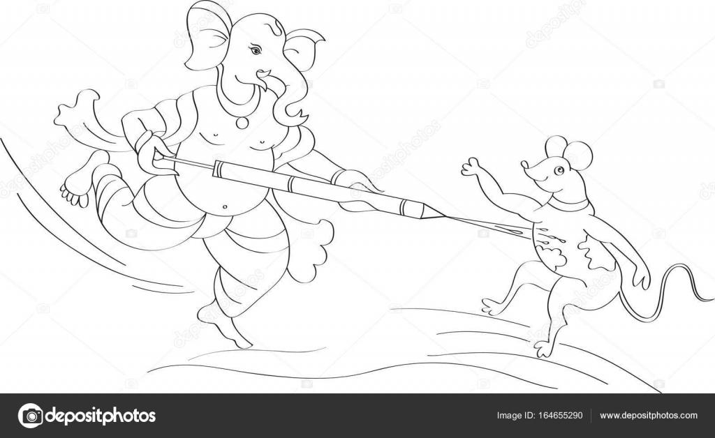 Ganesha jugar Holi con ratón — Vector de stock © ajayshrivastava ...