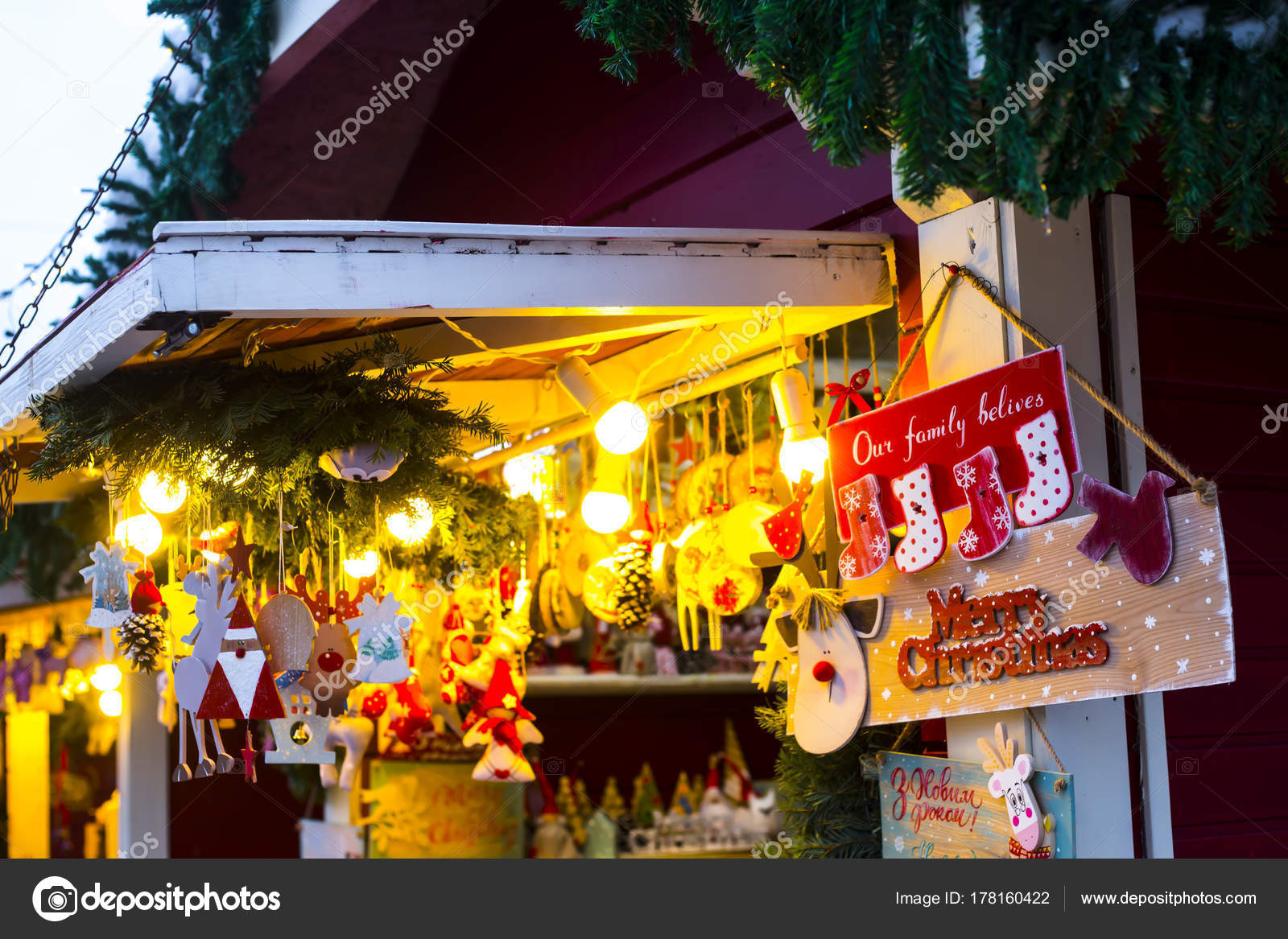 Feria Kiev Puestos Forma Casas Navidad Fotos de Stock Vsamarkina