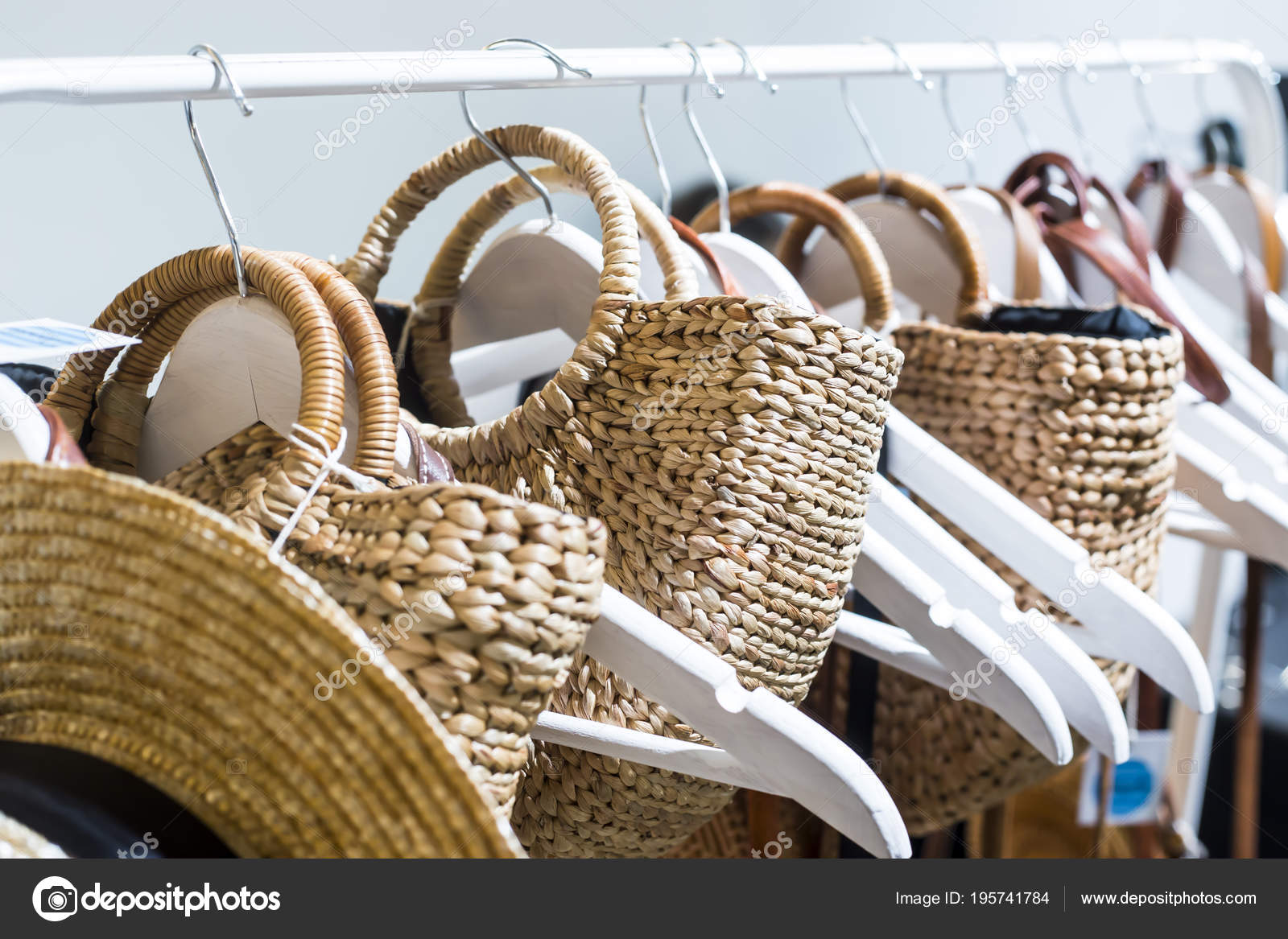 Straw Bags Sale Next Trembles Fashion Accessory Trend Summer 2018 — Stock  Photo 7fd3438483015