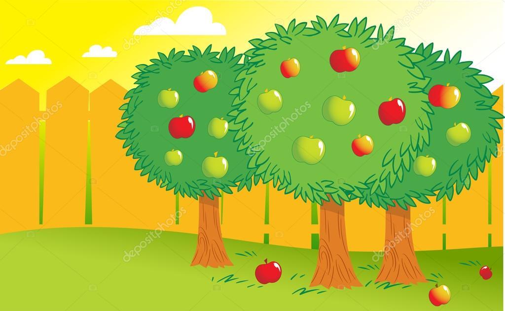 Cartoon Garden And Apples U2014 Stock Vector