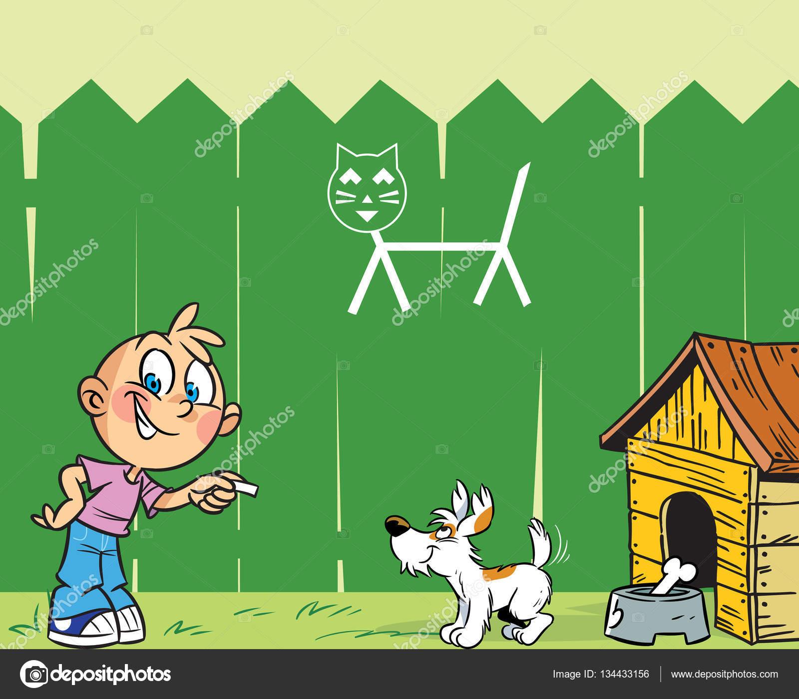 Мальчик и собака — Векторное изображение © Verzhy #134433156