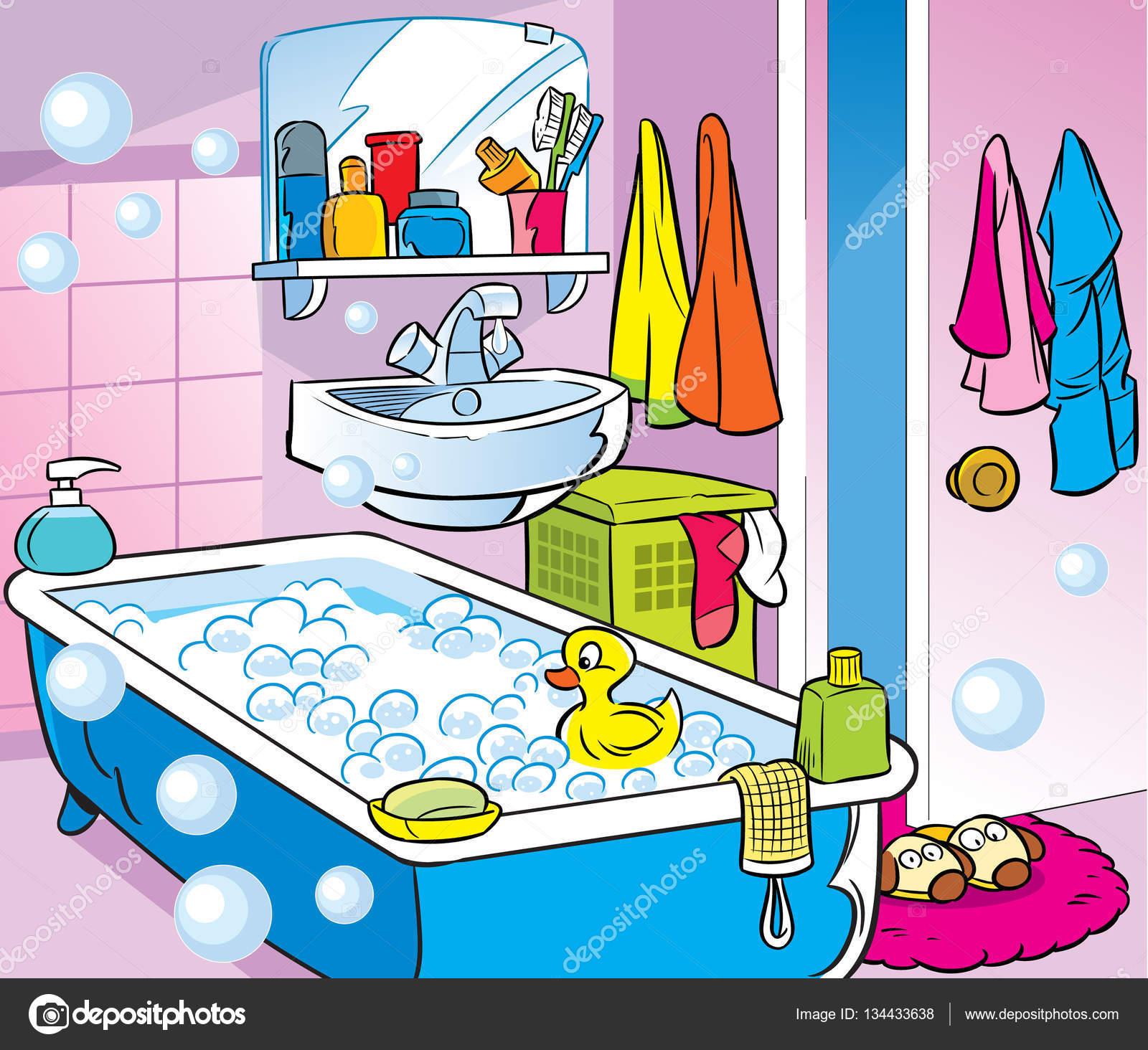 Interior Cartoon Bathroom Stock Vector C Verzhy 134433638