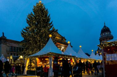 BERLIN, GERMANY - DECEMBER 23, 2016: Beautiful decorated booths