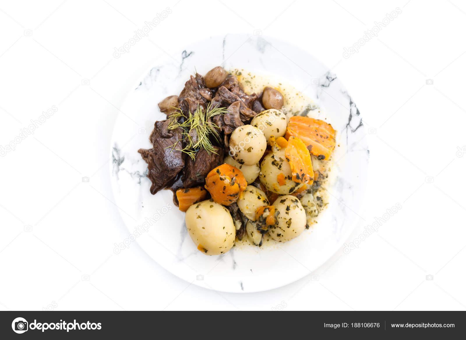 Duszone Wołowiny Ziemniakami Tradycyjne Dania Kuchni