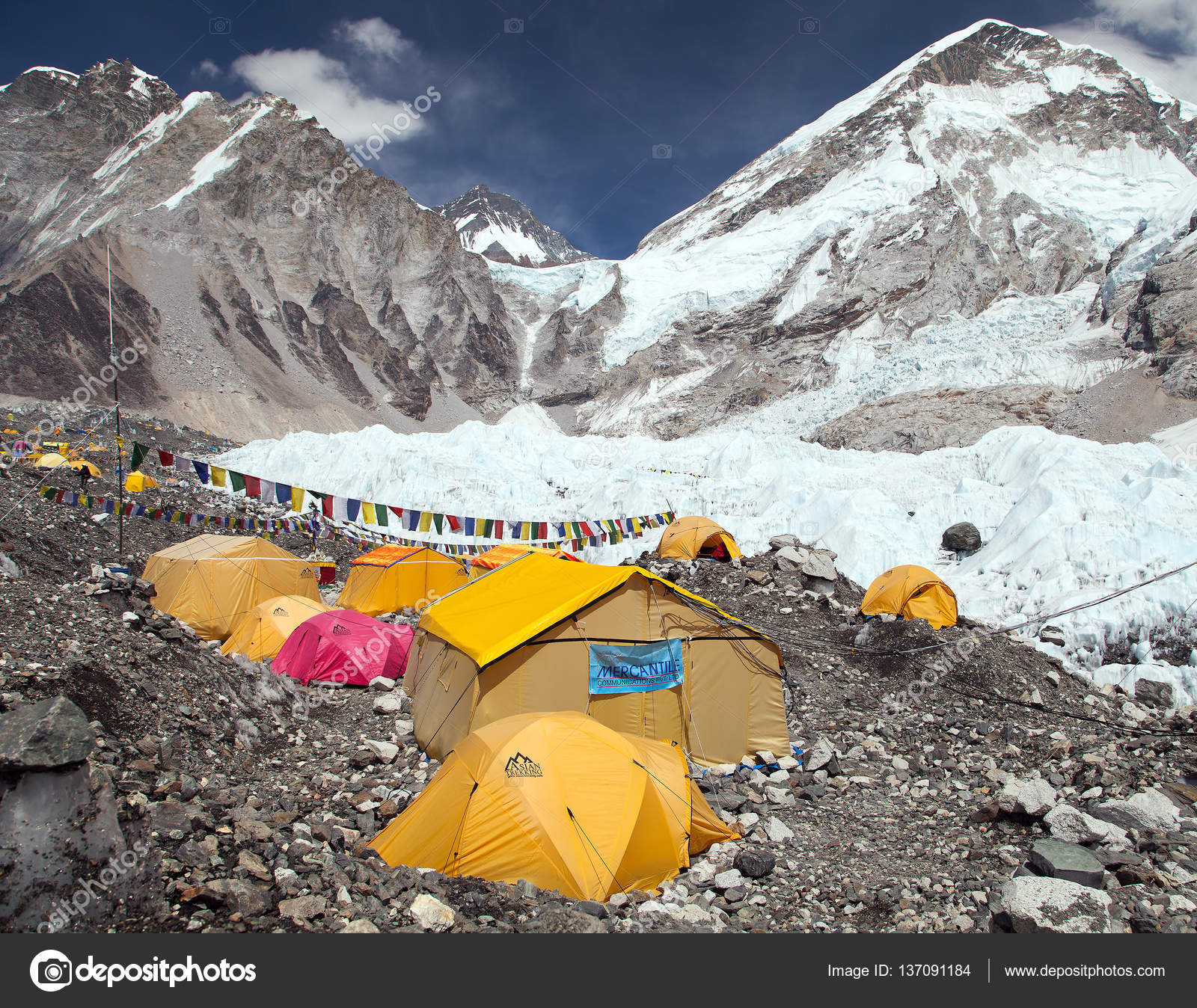 Mount Everest base c& tents and prayer flags u2014 Stock Photo & Mount Everest base camp tents and prayer flags u2013 Stock Editorial ...
