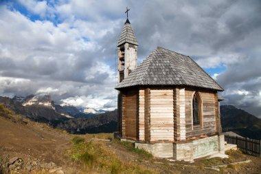 church or chapel on the mountain top Col di Lana