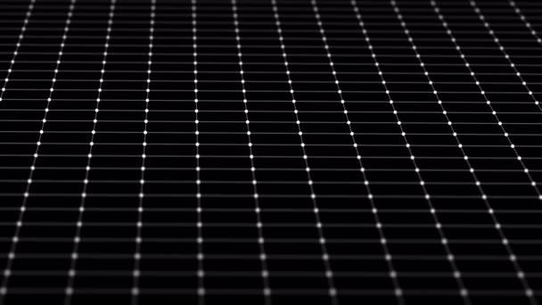 Černobílé pozadí čtvercových mnohoúhelníků a teček. Bodové čáry se pohybují zleva doprava. Záznam ze smyčky. 4k. Návrh pohybu.