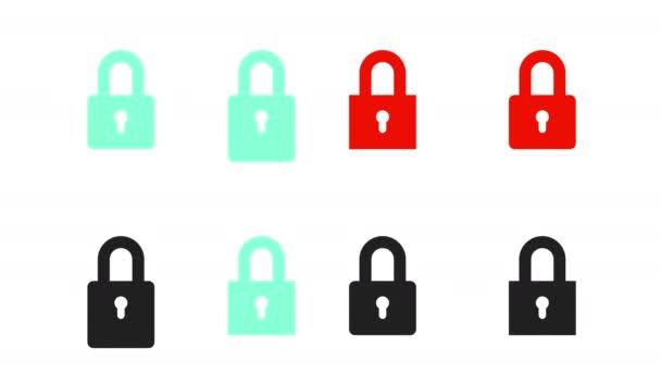Sada otvíracích zámků. Černé a barevné zámky. Zámek se zavírá. Ochrana informací. Sada animovaných ikon. Alfa kanál. 4k.