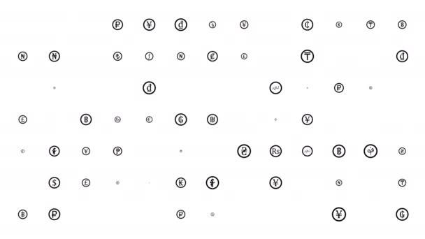 Valuta szimbólumok véletlenszerűen eltűnnek és megjelennek. Alfa csatorna. A világ pénze. Fekete a fehéren. Írj alá egy kört. 4k.