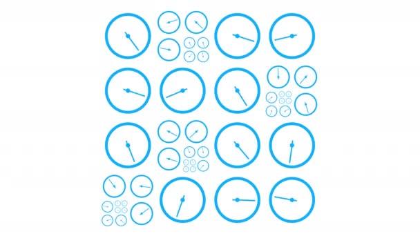 Abstraktní pozadí s hodinami. Smyčka animovaného spořiče obrazovky. Alfa kanál. 4K