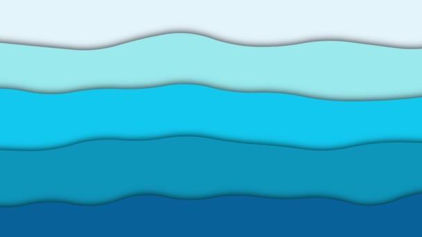 Abstrakter animierter Hintergrund. Blaues Papier winkt. Video-Bildschirmschoner mit Loopings. 4K