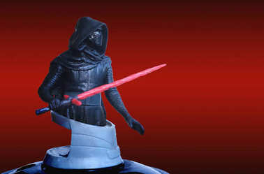 Trang Thailand - DEC 06, 2017: Kylo Ren of theatre bust series figure collection on red scene from star wars the last jedi movie. Box office greeting concept.