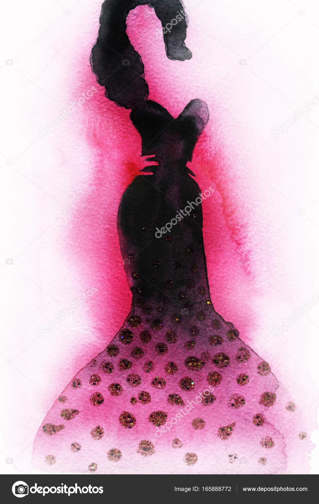 Foto Annamile En © Stock VestidoPintura La Acuarela — De Mujer bfvY7y6g