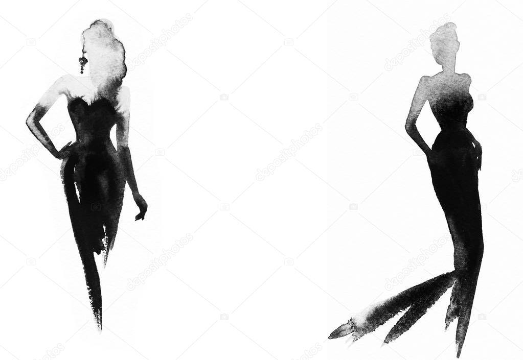 femme l gante avec la robe noire peinture aquarelle photographie annamile 165891562. Black Bedroom Furniture Sets. Home Design Ideas