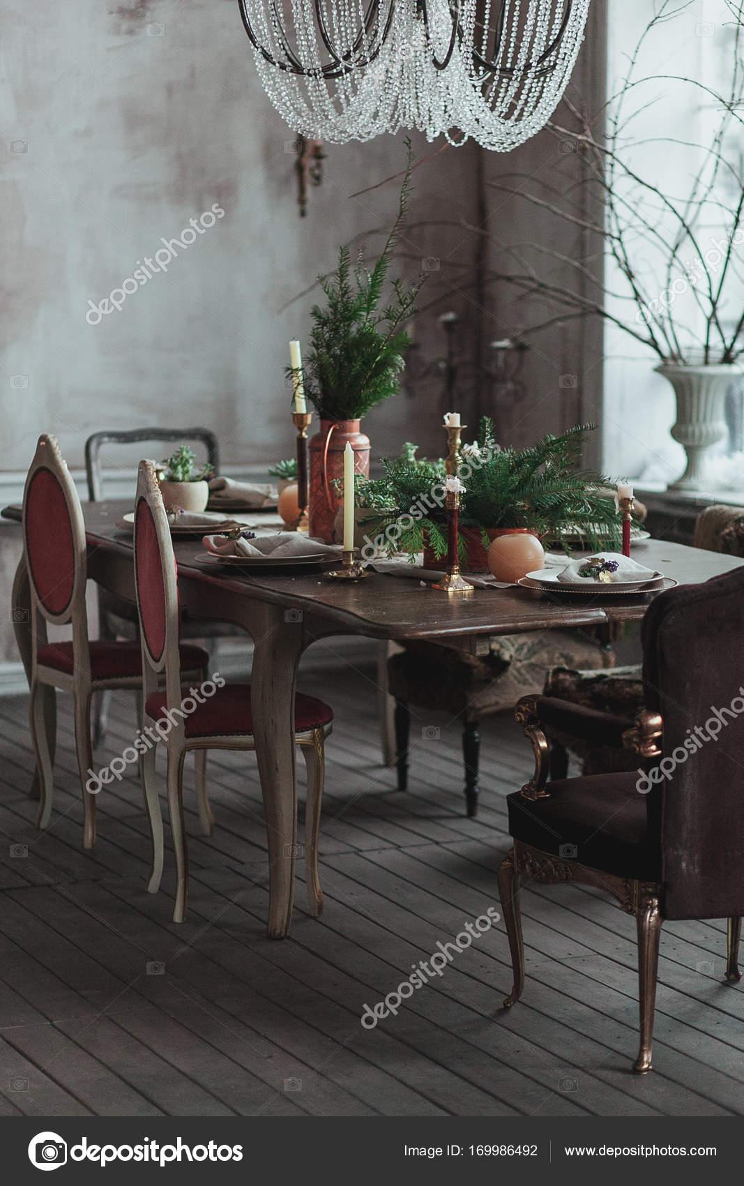 holz boden und decke modern interieur, moderne loft-ess-zimmer mit hoher decke, vintage sessel, leere graue, Design ideen