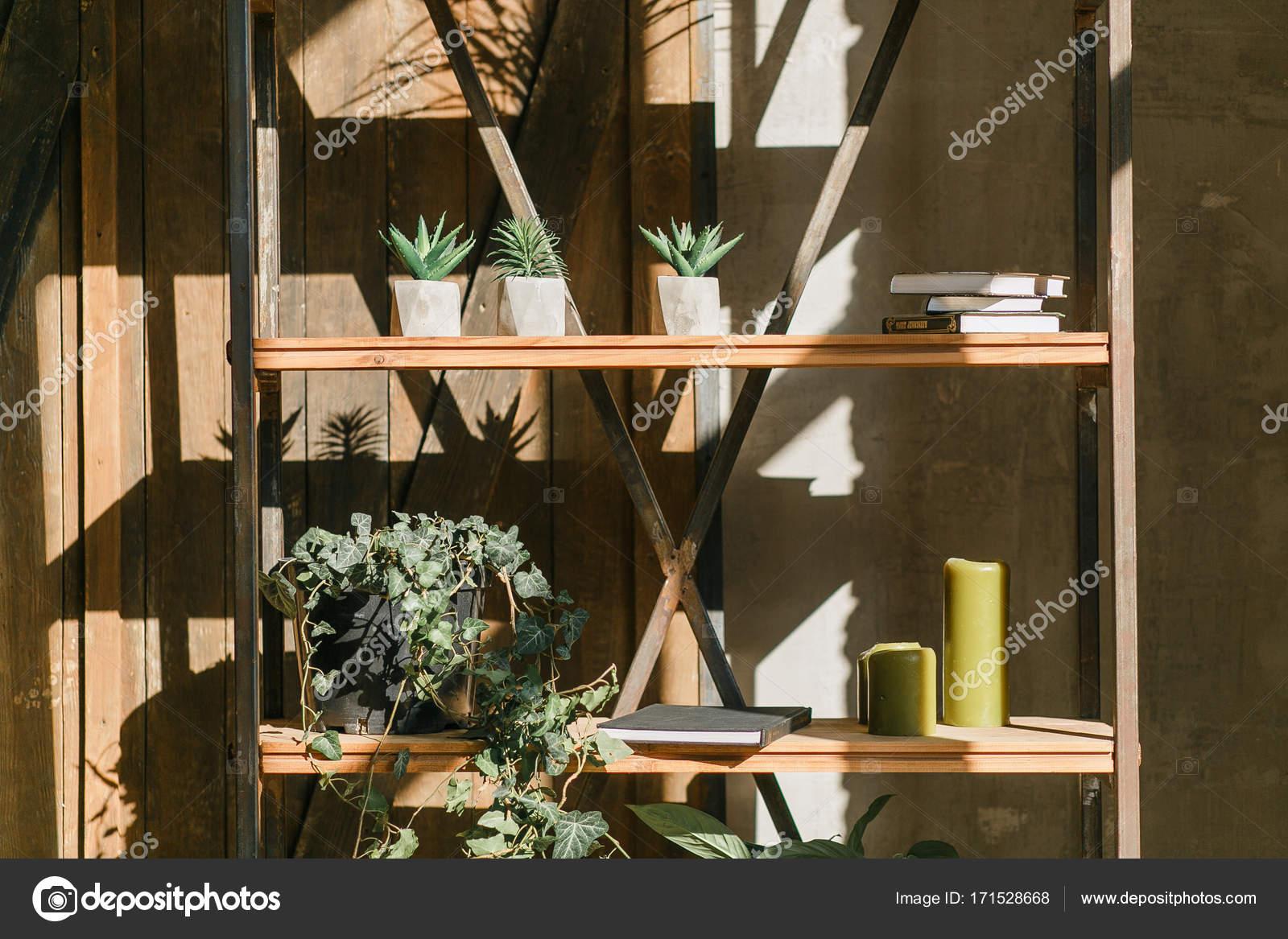 Vieja pared con bastidor de hierro y estantes llenos de suculentas ...
