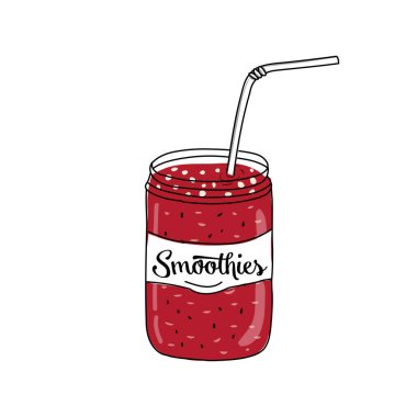Flat modern doodle design of mix of fruit smoothie in the glass with straw