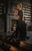 woman in vintage black dress