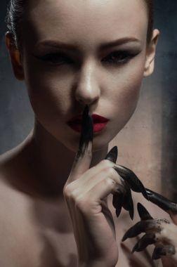 Beauty model showing silence