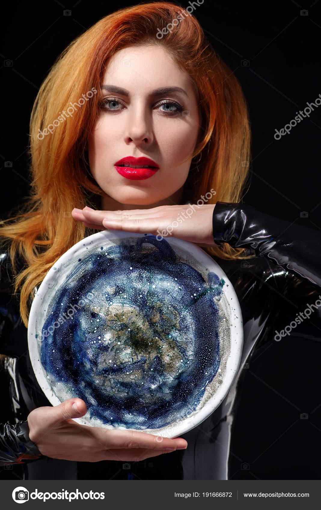 Redhead woman posing think, that