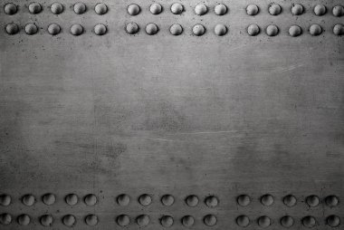 Old metal texture with rivets, steel background stock vector