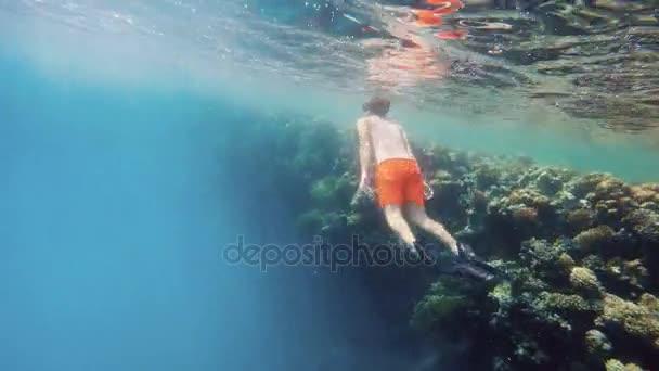 Mladý chlapec šnorchl plavání v mělké vodě s korálových ryb