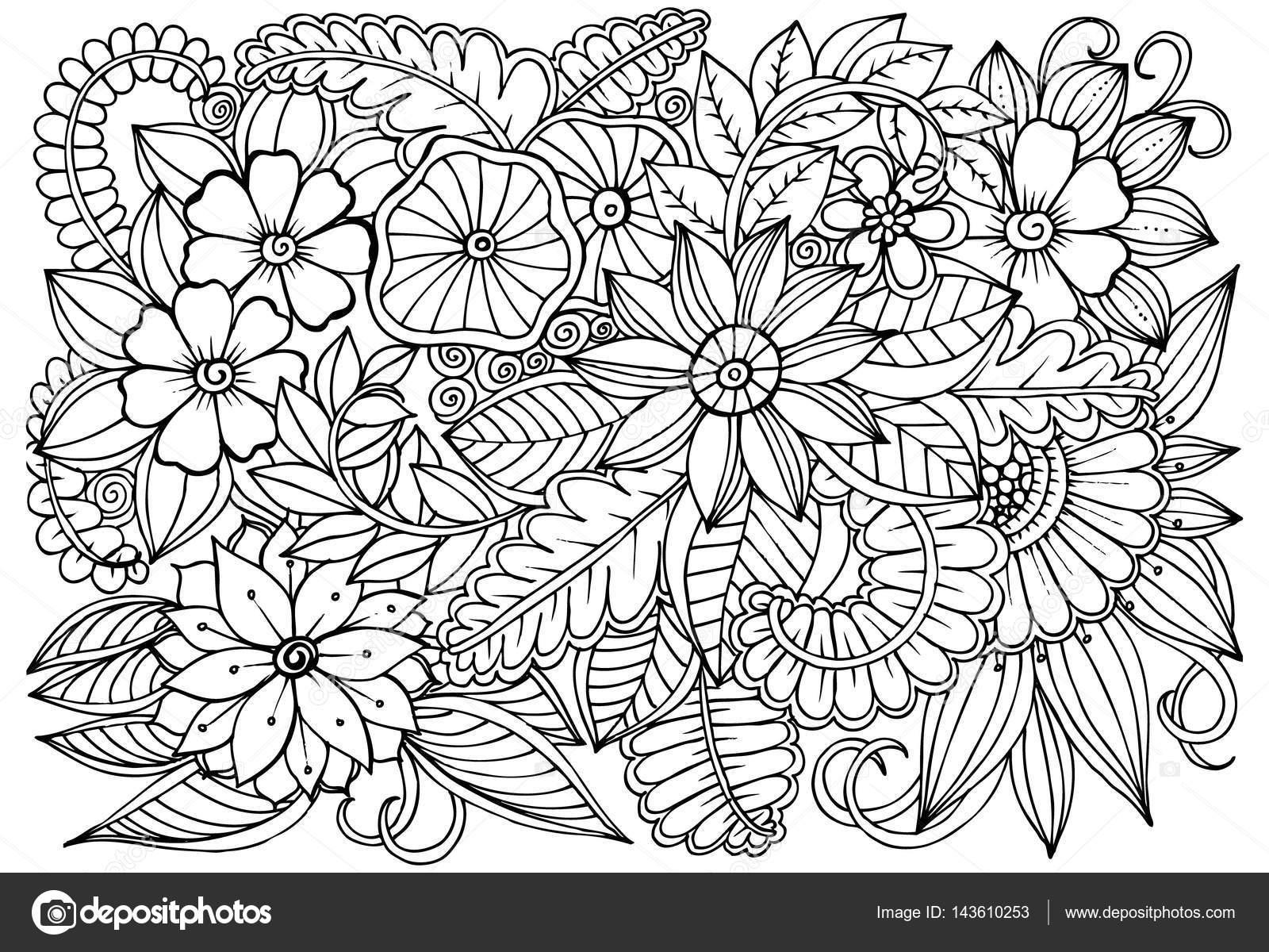 Fantástico Patrón De Flores Para Colorear Bandera - Dibujos Para ...