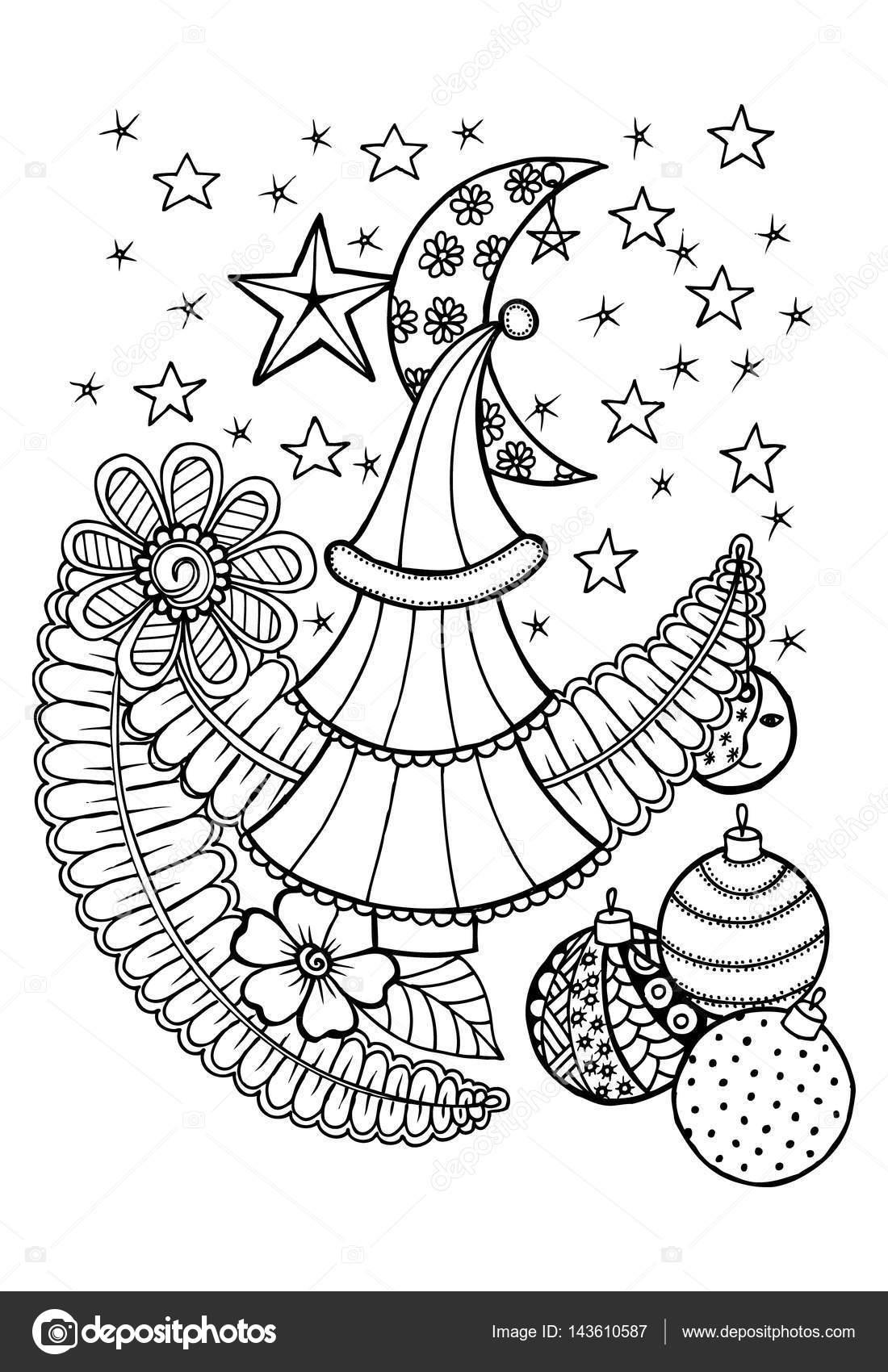 Weihnachtsbaum In Schwarz Und Weiß Zum Ausmalen Stockvektor