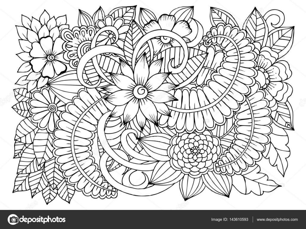 Pagine Da Colorare Per Adulti Libro Modello Astratto: Disegno Fiore Bianco Da Colorare