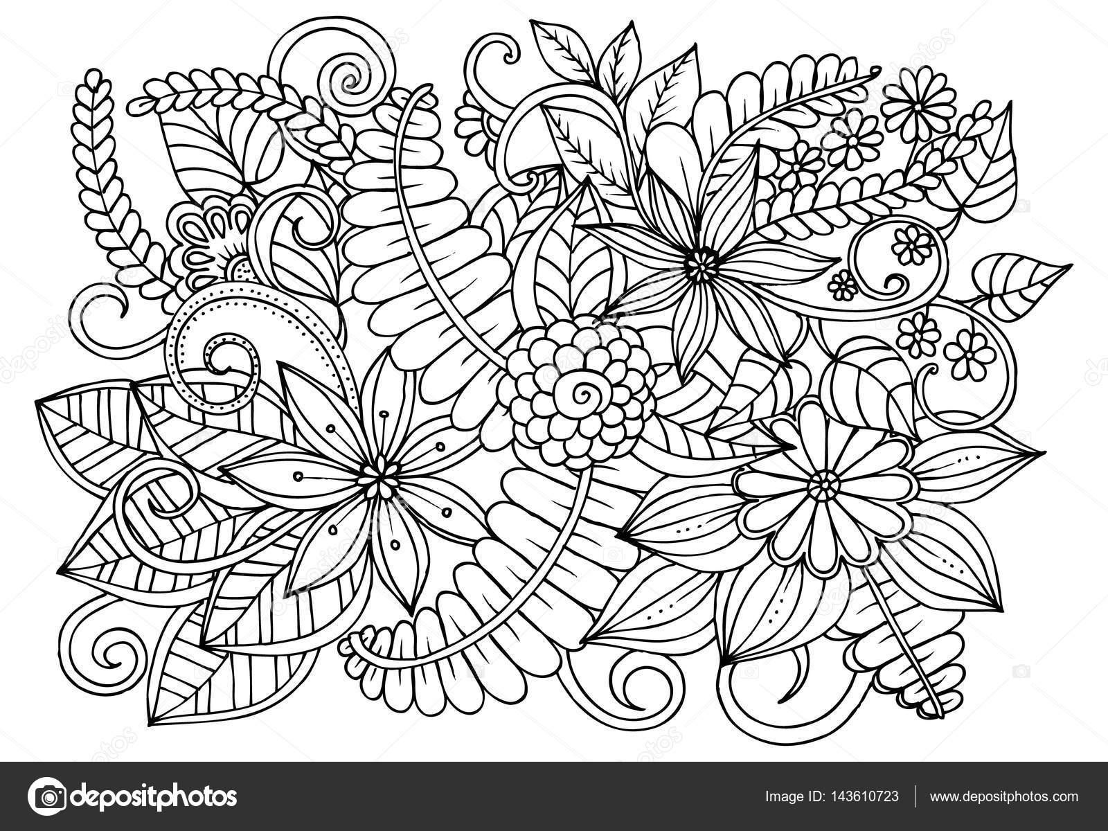 Doodle çiçek Desenli Siyah Ve Beyaz Boyama Kitabı Sayfası Stok