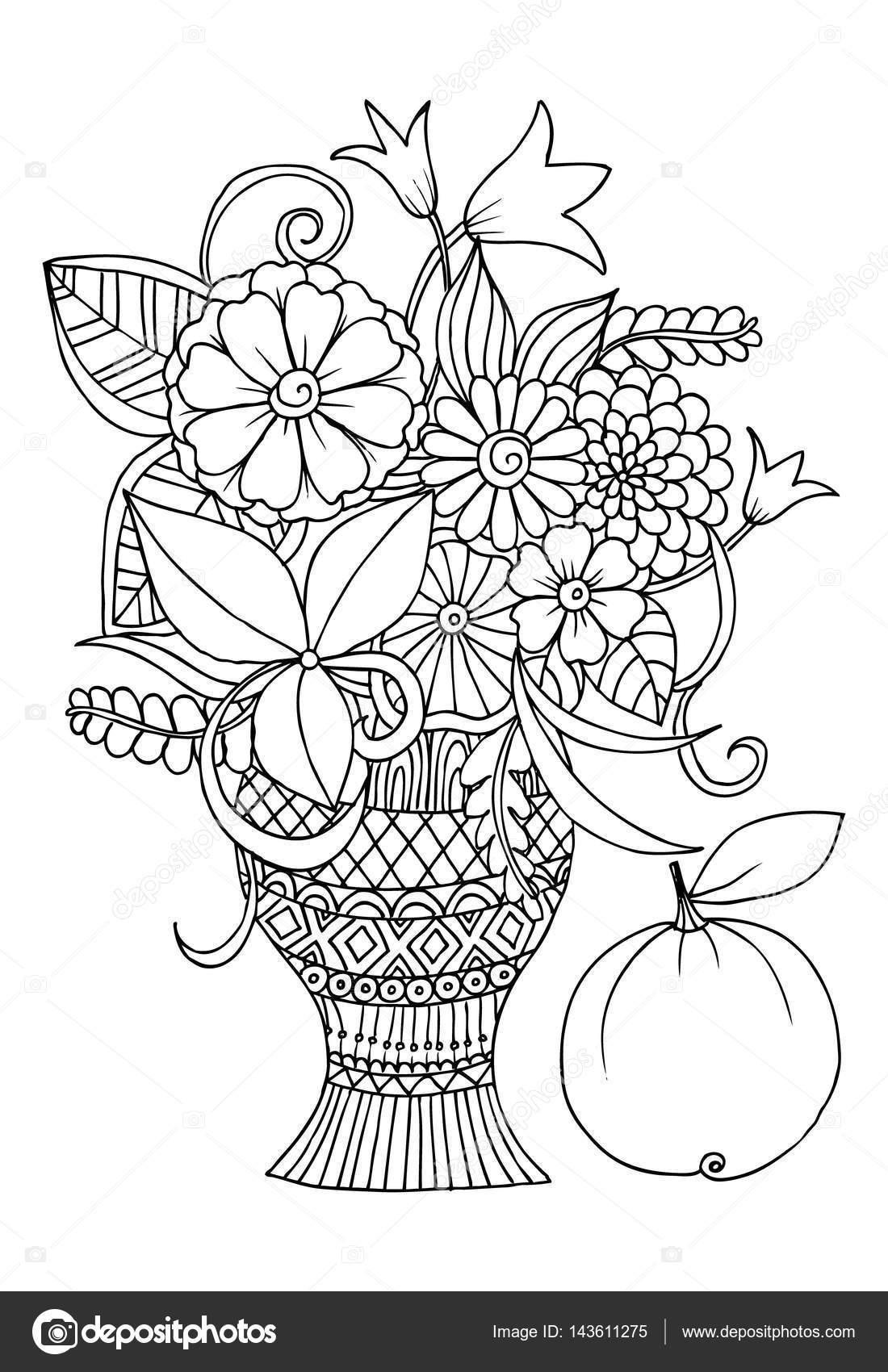 Dessin D Un Vase Avec Des Fleurs Pour Adulte Couleur De Monochrome