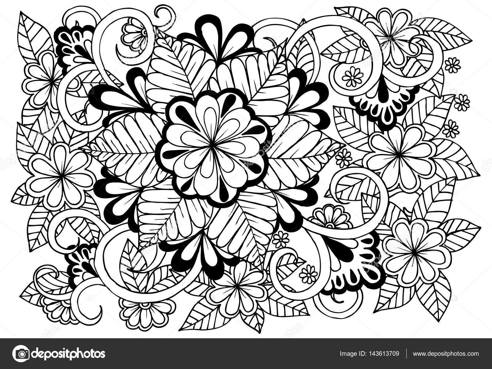 Doodle Cicek Desenli Siyah Ve Beyaz Boyama Kitabi Sayfasi Stok